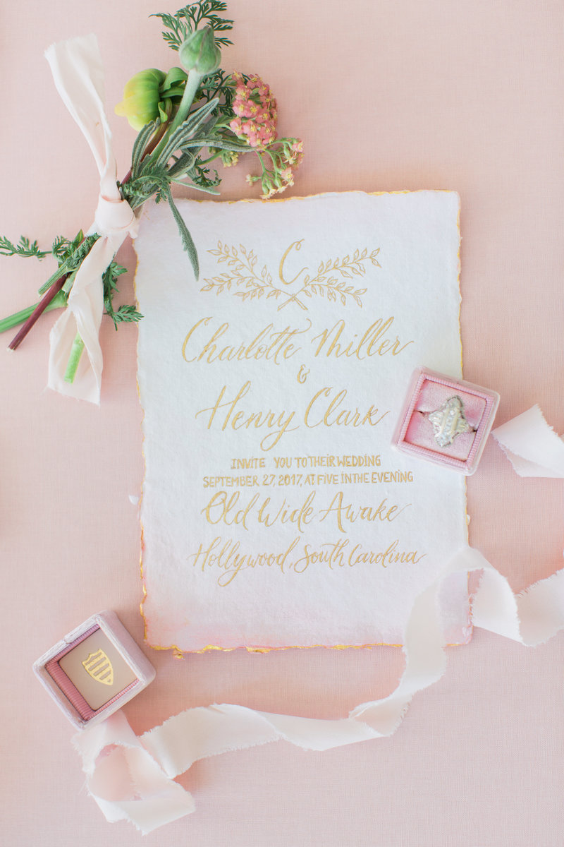 gold and pink watercolora wedding invitation