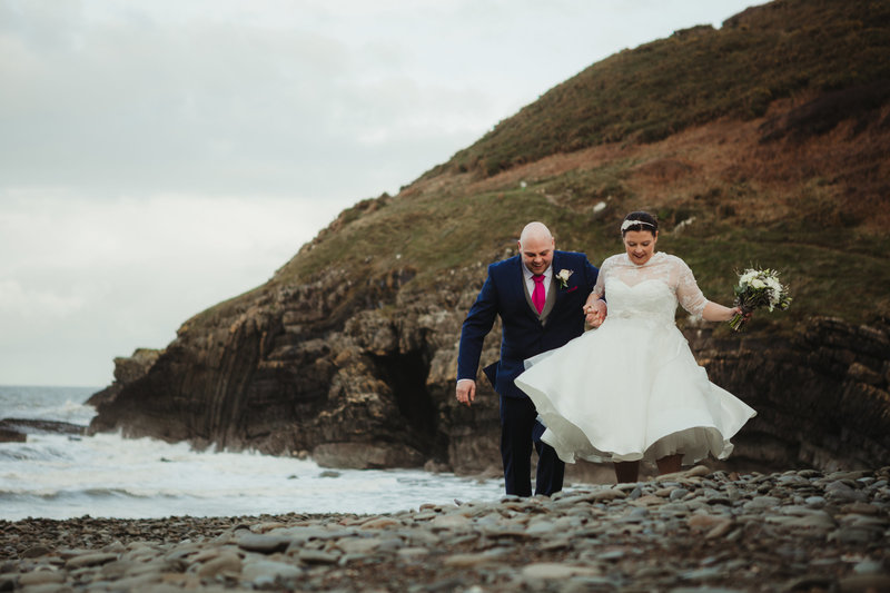 wedding walk on cwmtydu beach