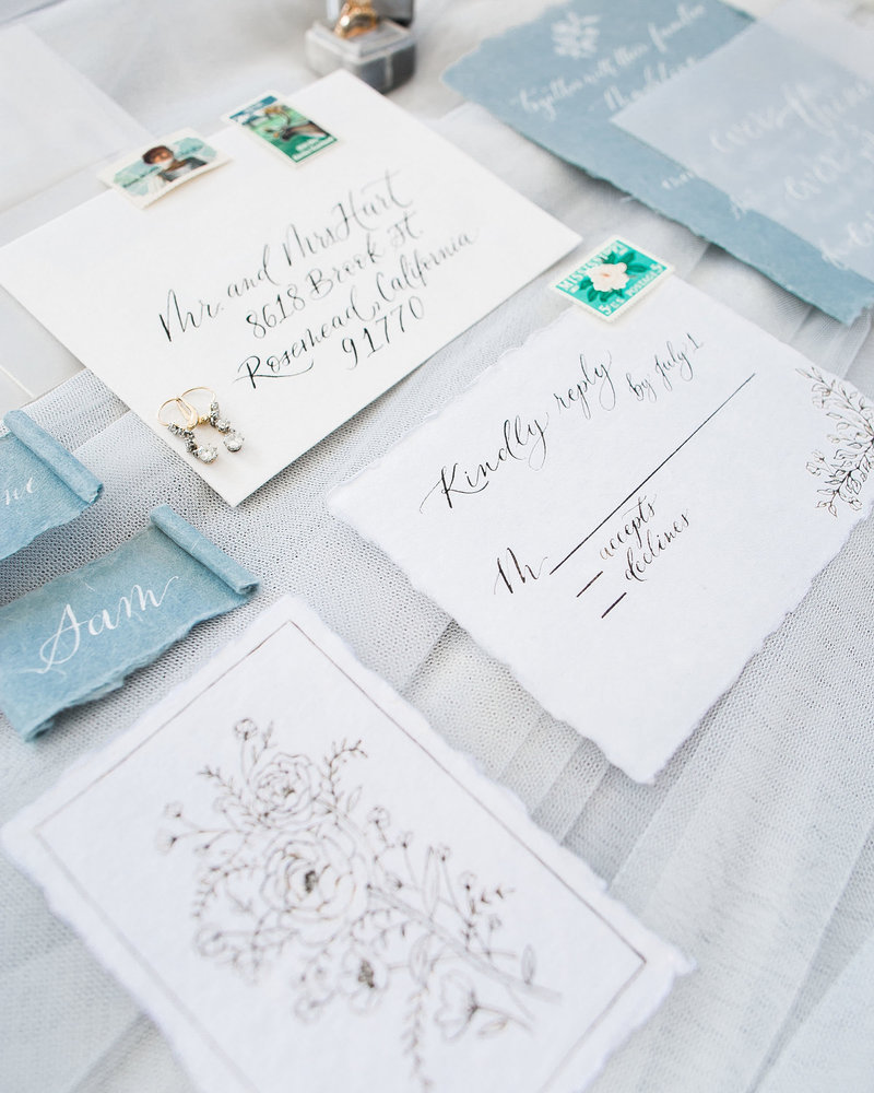 Plume & Fete delicate and airy handmade invitation suite