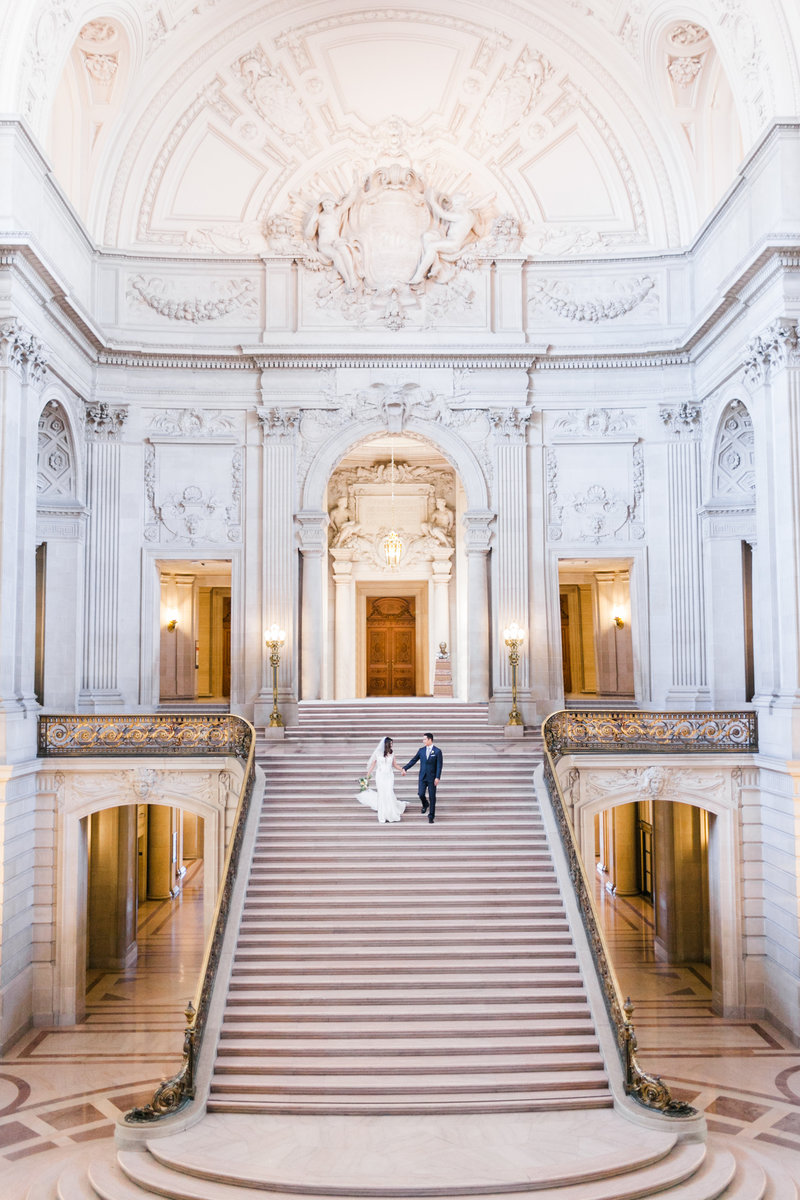 Bride Groom San Francisco City Hall Stairs