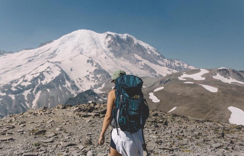 Hiking Burroughs Mountain Trail at Mount Rainier National Park