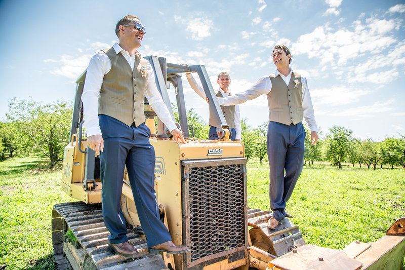 72 wedding photography groomsmen on bulldozer