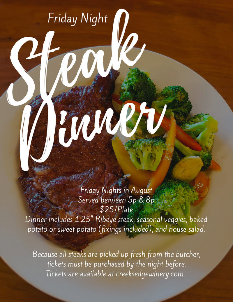 Aug Friday Night Steak Dinner