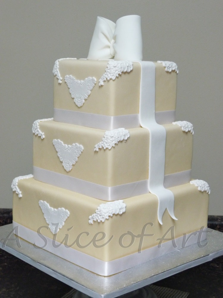 square bow wedding cake