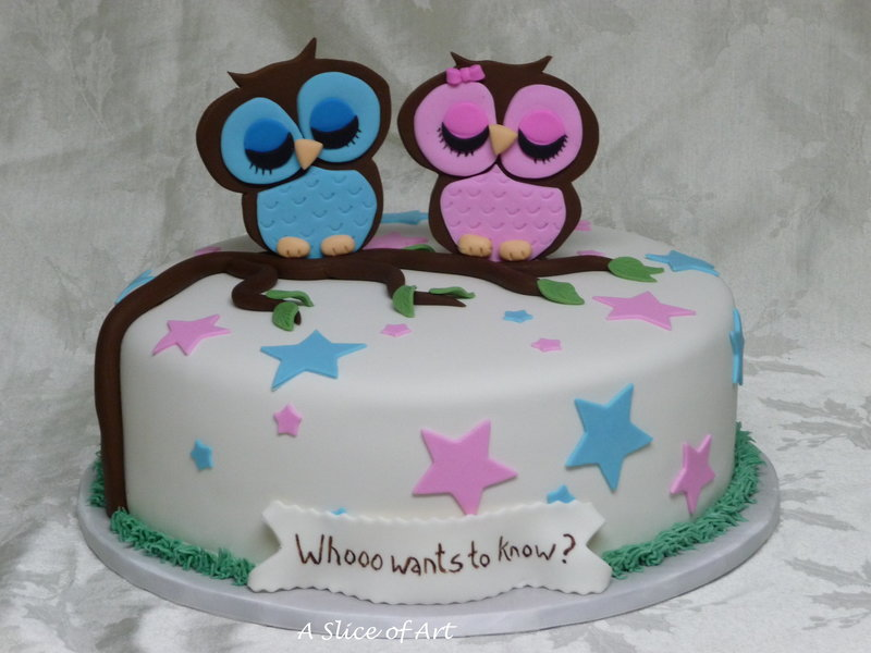gender owl reveal cake