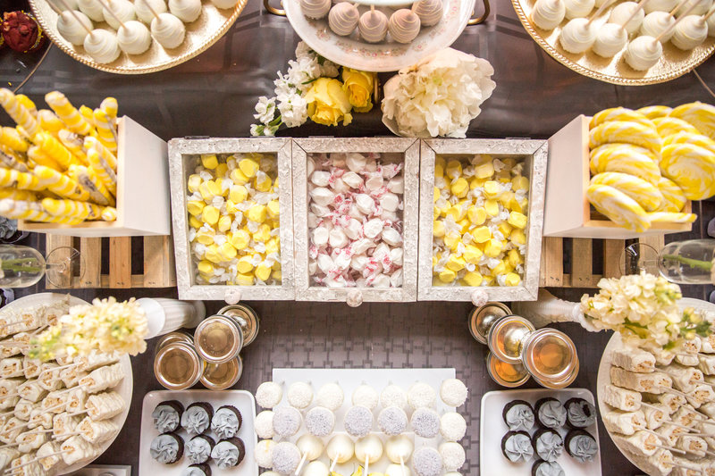 Yellow and gray sweets bar