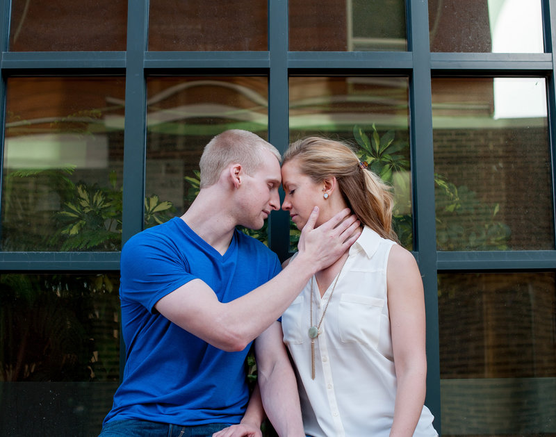 A quiet intimate moment during an engagement session in Fargo. Photographers Kris Kandel  www.kriskandel.com