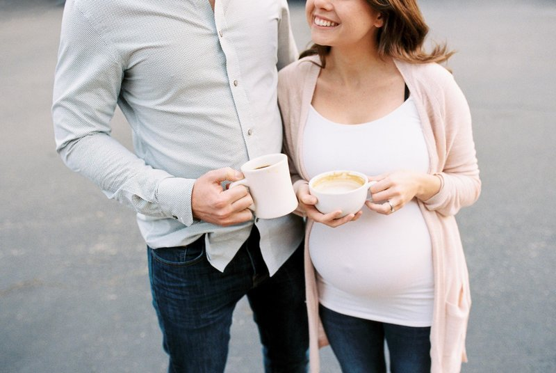 pregnant mom with coffee