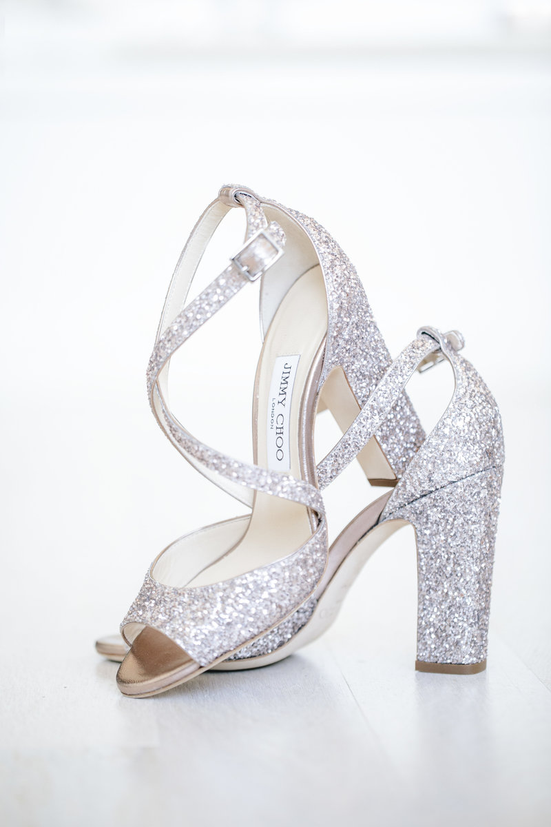 jimmy choo wedding shoes on white surface