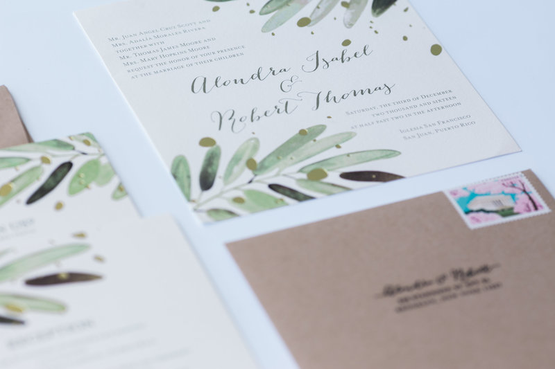 Wedding invitation Green Leaves