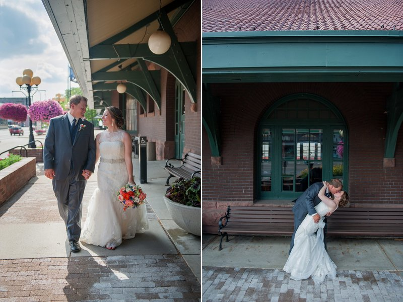 Train Depot downtown Fargo makes a great spot for wedding portraits! www.kriskandel.com