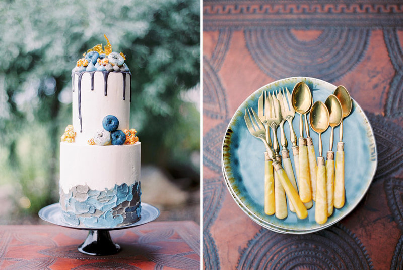 012-blue---gold-handpaited-wedding-cake-and-spoons-with-ivory-handles