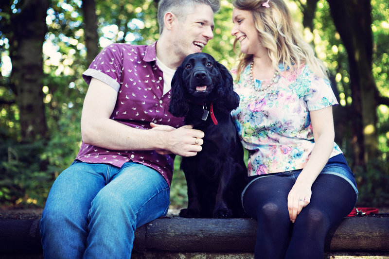 A woodland pre wedding session with mans best friend
