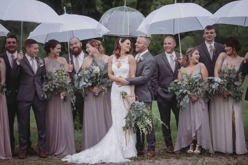 rainy wedding umbrella
