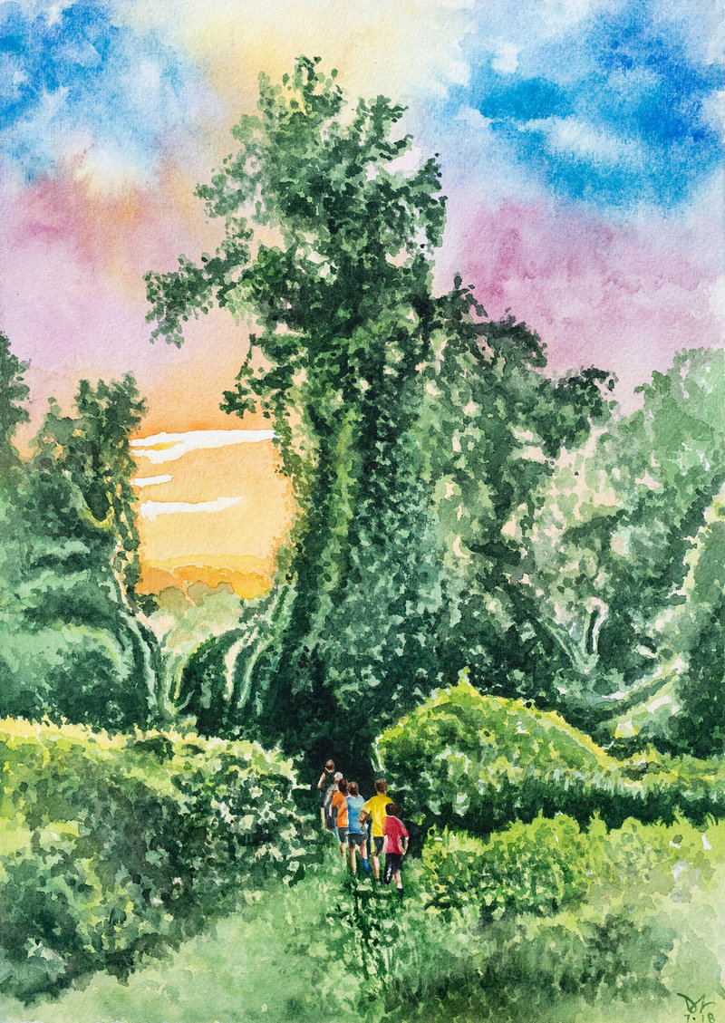 "2018-07 Morning Recess - Down to Disneyland Fair Hill, MD - watercolor - 7.5""X10.75"" 2425 web"