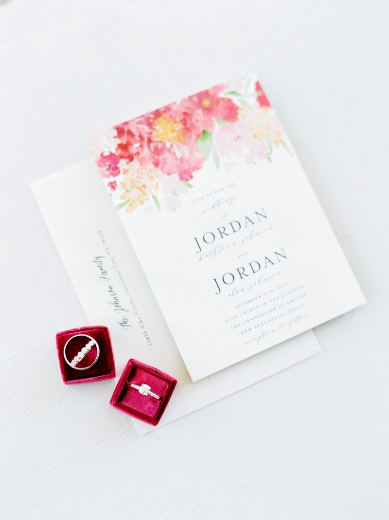 Pink Floral Wedding Invitation with Burgundy Ring Box