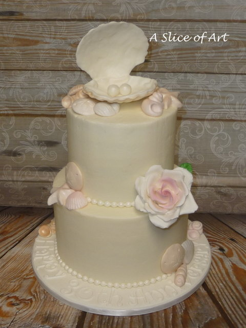 seashell rose cake