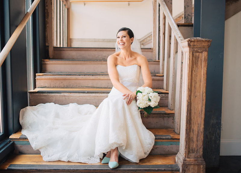 Bride on Stairs by Dallas Wedding Photographer