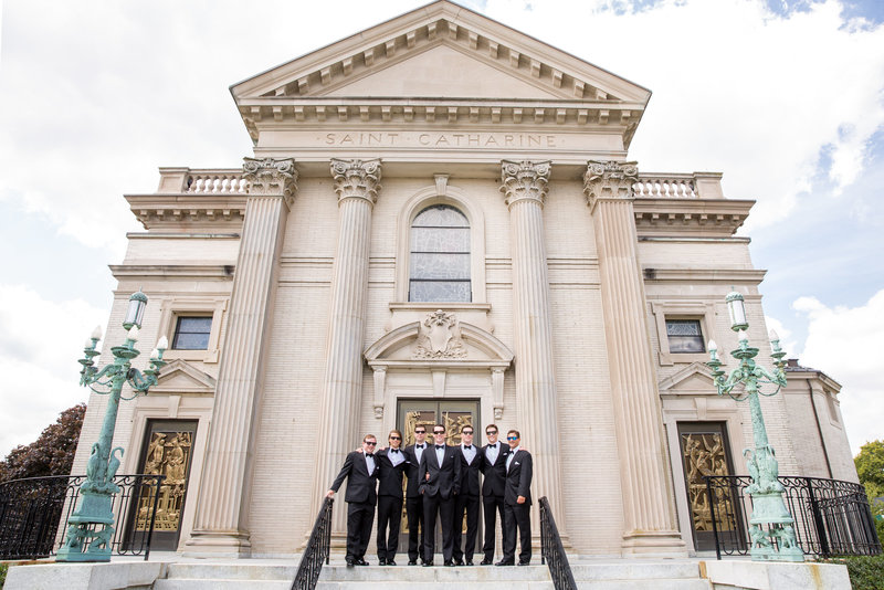 Groomsmen in front of St. Catharine's in Spring Lake