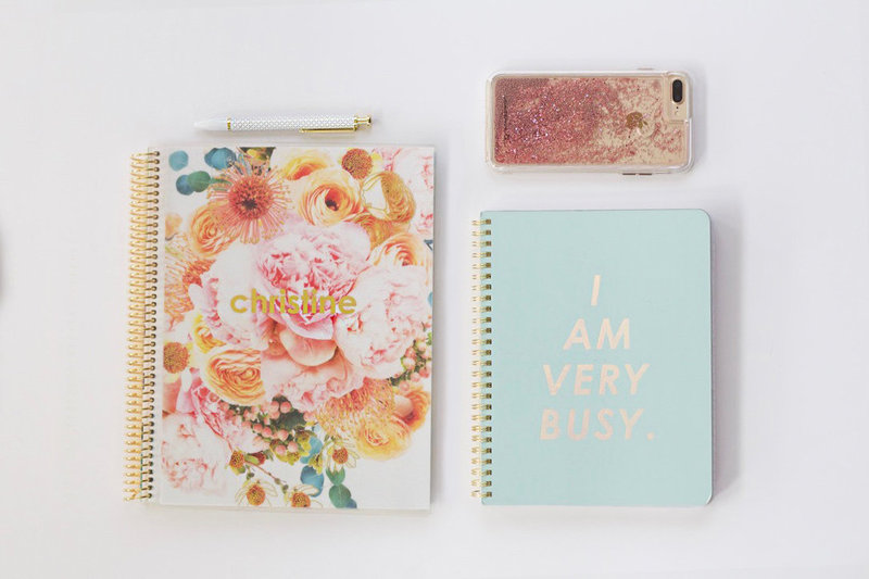 Flat lay of Erin Condren Planner and iphone 7 case