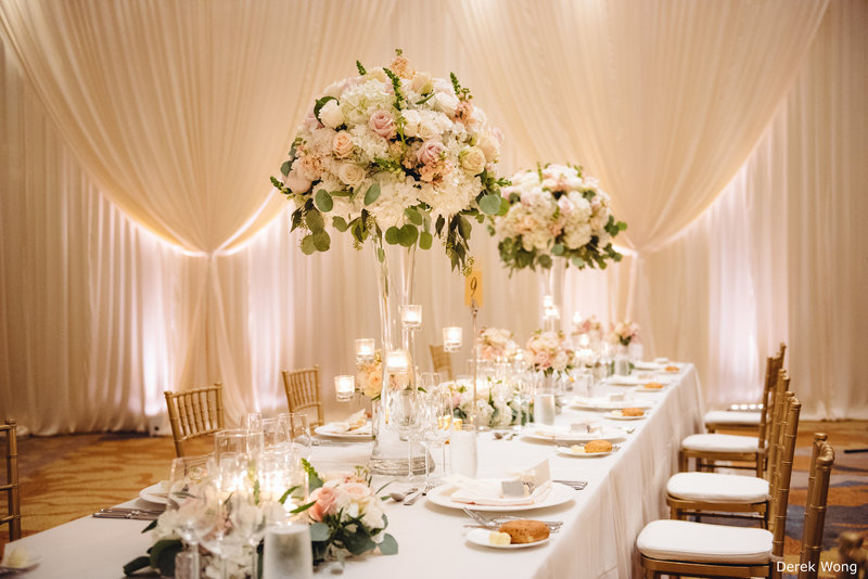 WM Four Seasons Ocean Ballroom ivory linen pipe & drape wedding decor