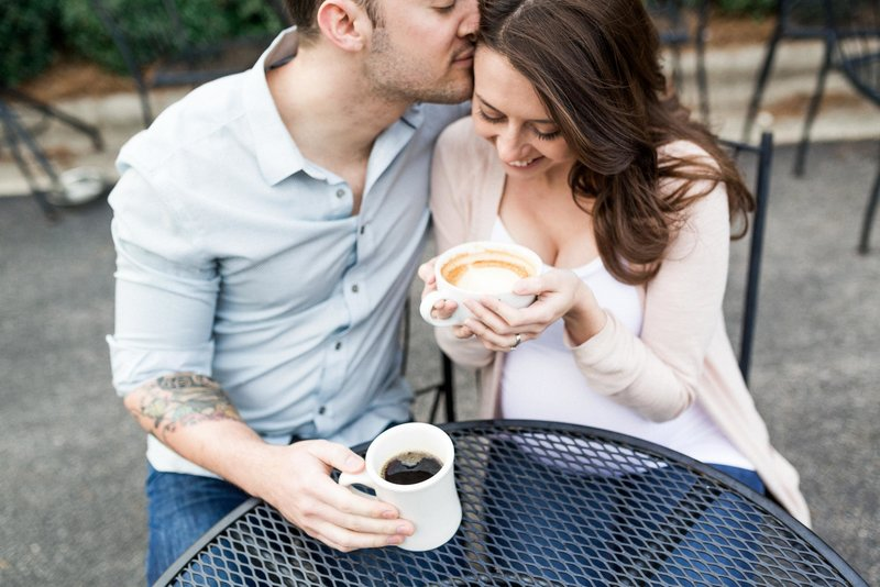 maternity family coffee portrait outdoor