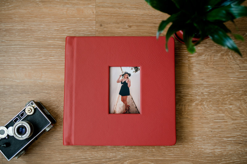 Vibrant red photo album made my professional photographer.