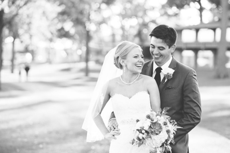 Portrait of bride and groom during their wedding at Lake Lawn Resort in Delavan, WI