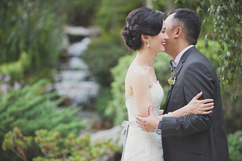 Bride and groom share a special moment at Pasadena wedding