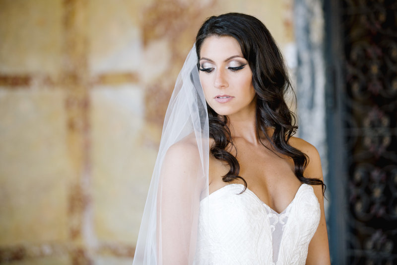 bride portrait looking away at monmouth university