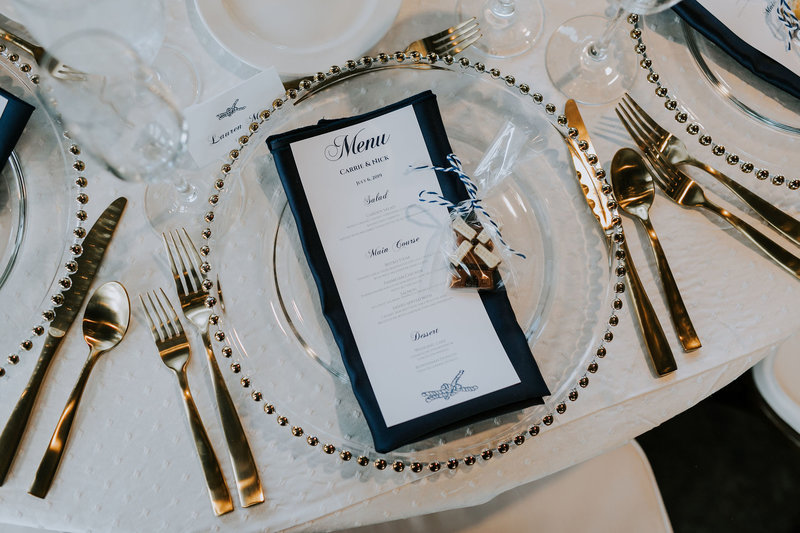 Gold and Navy Nautical Place Setting