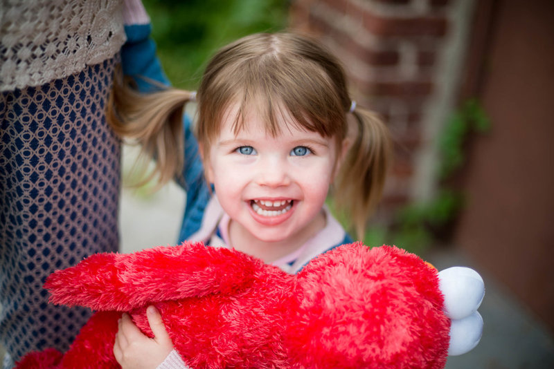 Girl holding elmo doll family session in Somerville