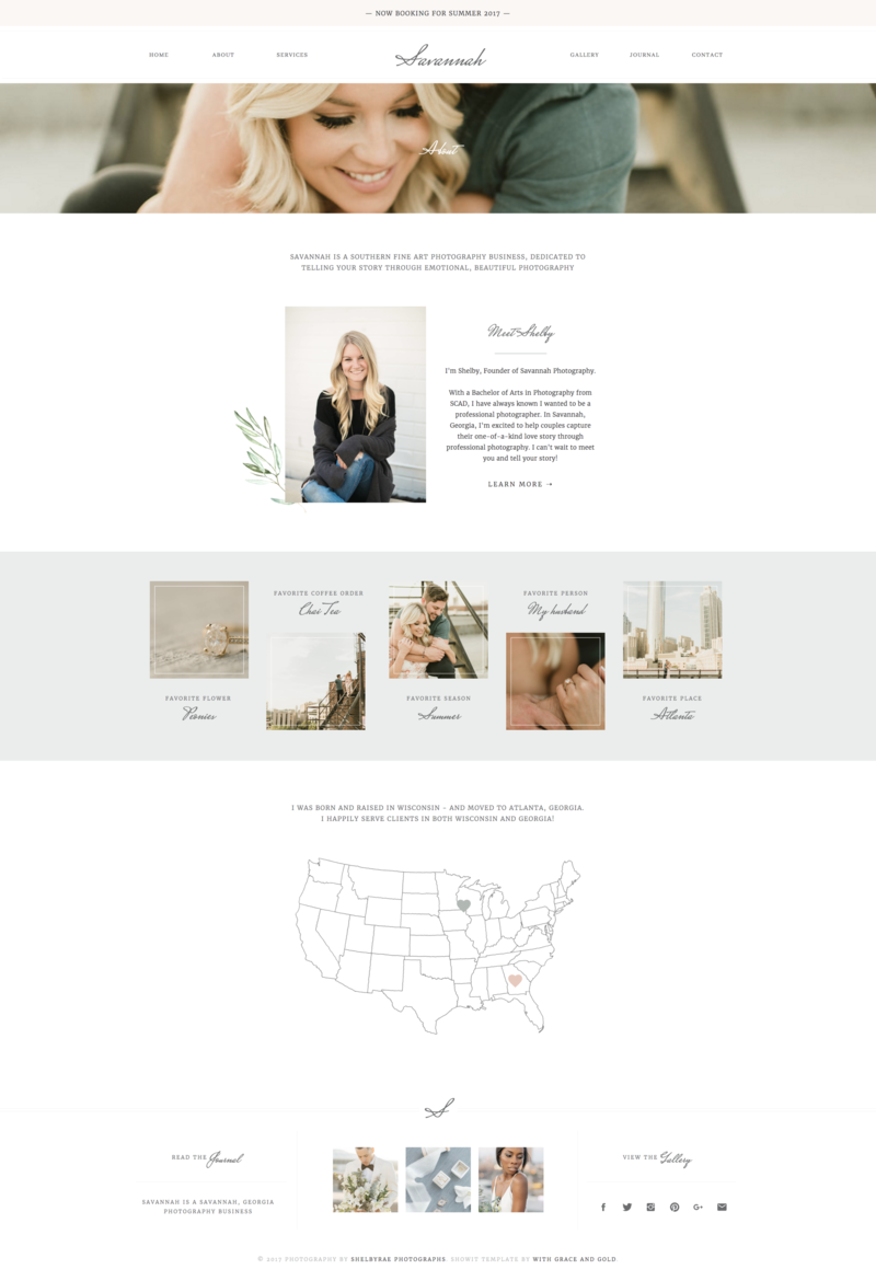 02 - About - With Grace and Gold - Branding, Web Design, and Education for Creative Women in Business - Showit Design, Designs, Designer, Theme, Themes, Template, Templates