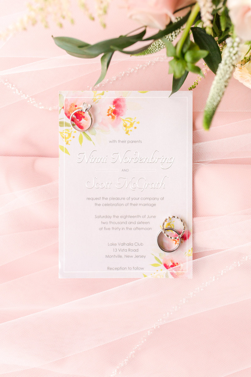 Floral wedding invitation at Lake Valhalla Club Wedding