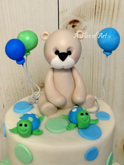 fondant teddy baby shower cake