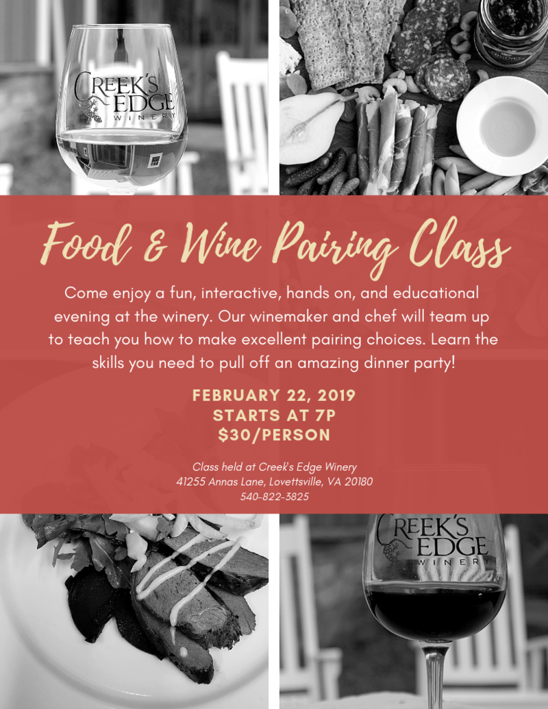 February Food and Wine Pairing Class