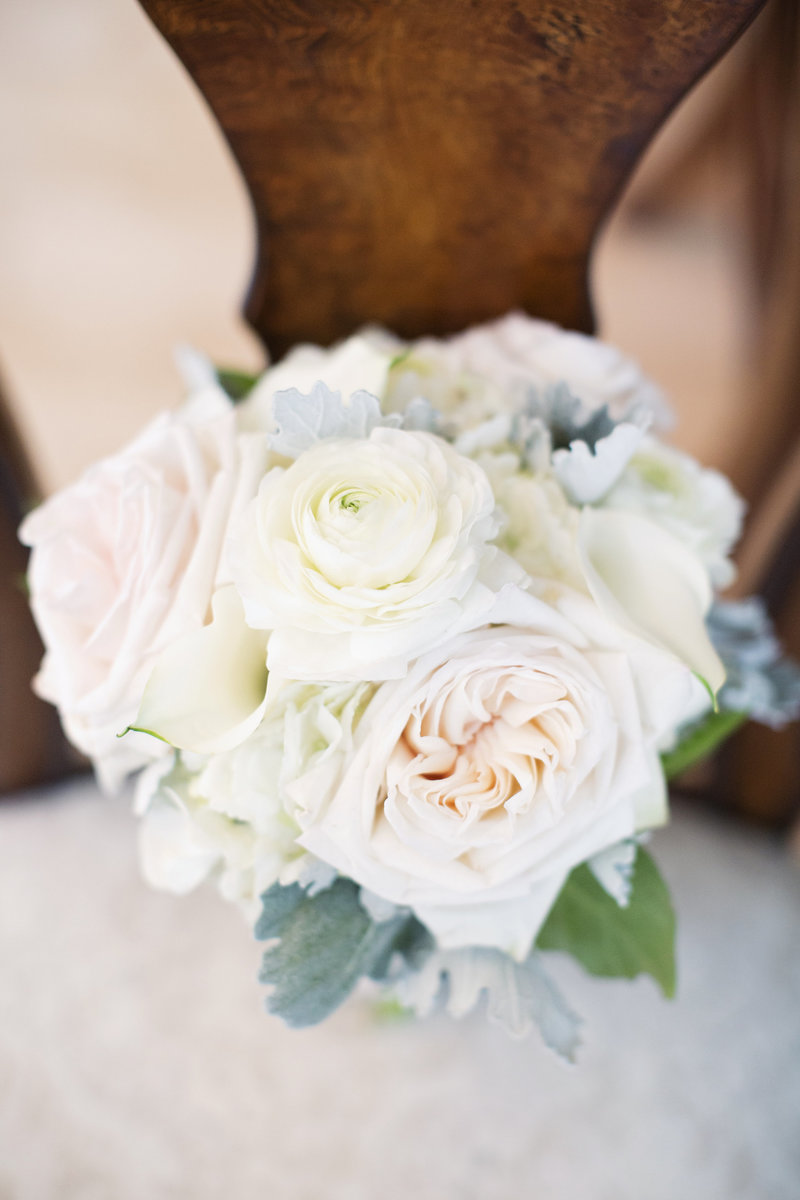 brides bouquet on light colored flowers