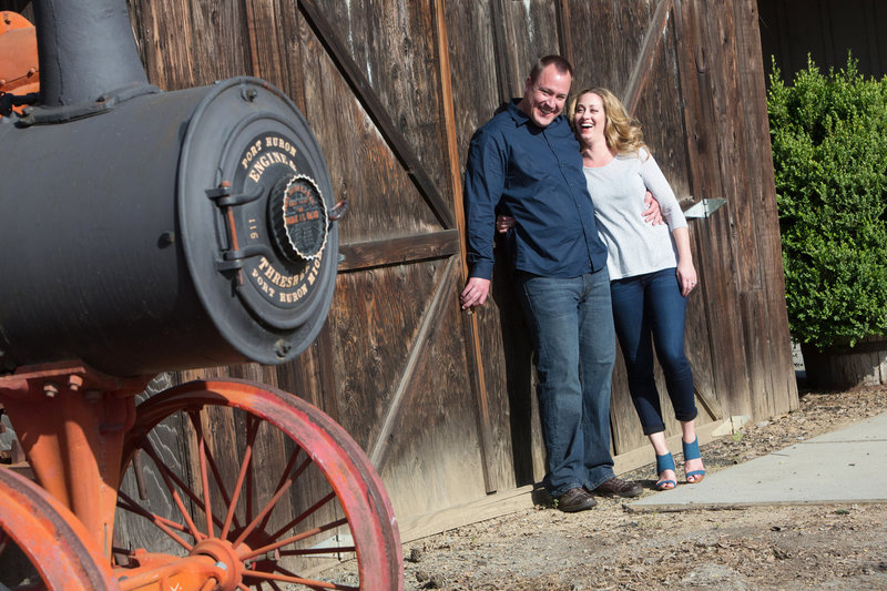 San Jose History Park, Engaged, Engagement Pictures, Jennifer Baciocco Photography, train engine