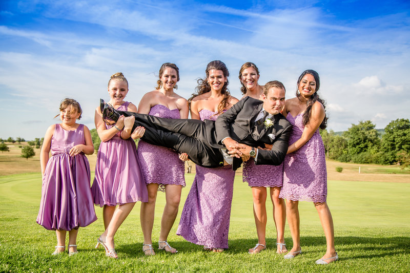 65 wedding photography Bridesmaids Holding Groom