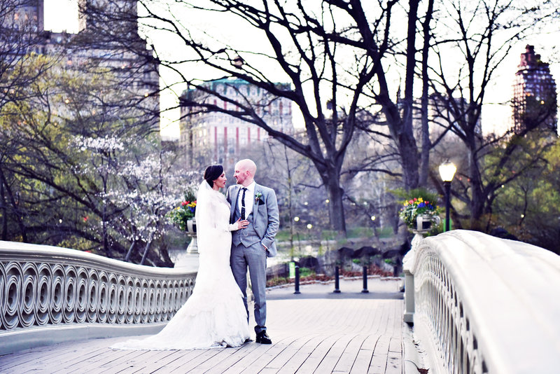 Bride and Groom on Bow Bridge in Central Park