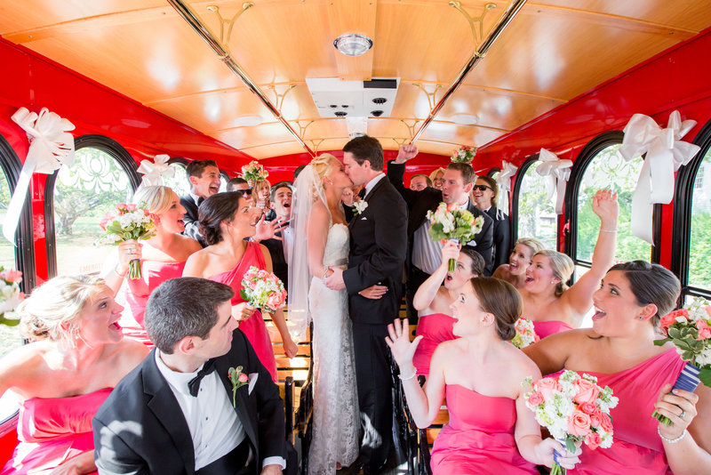 Bridal party in Long Branch Trolley