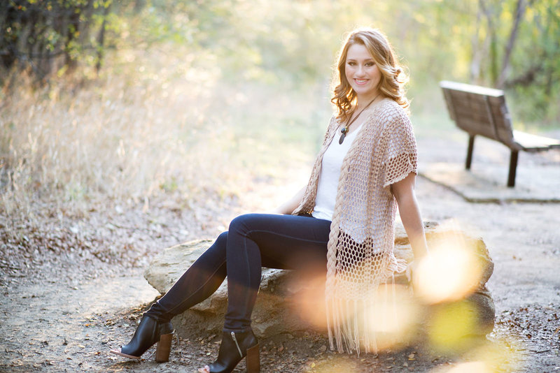 River Legacy Park Senior Pictures with pretty lighting