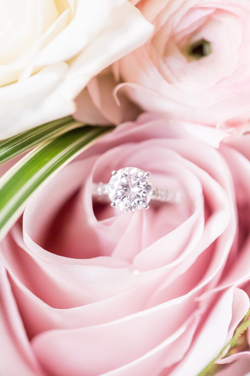 Diamond ring in pink bouquet