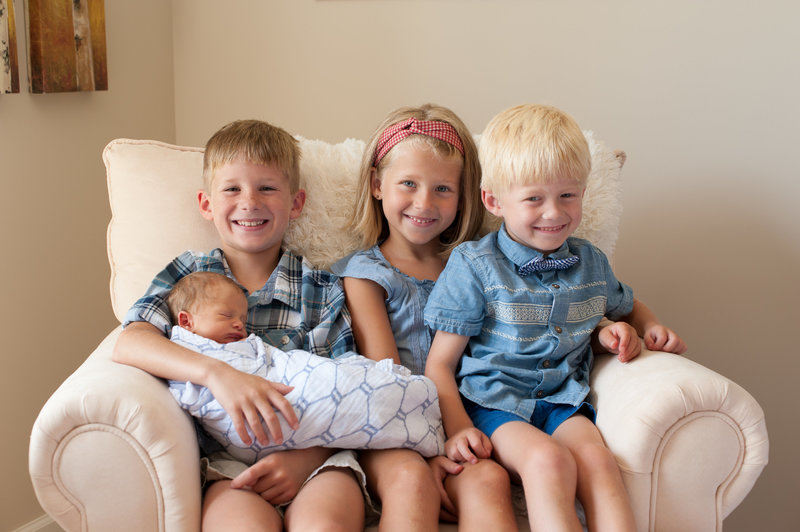 Newborn  and Siblings in Yorktown, Virginia