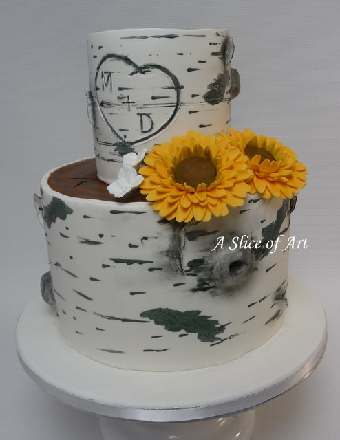 birch tree design wedding cake