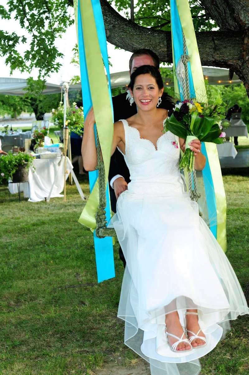 bride on a swing find the best VT wedding photographer in Stowe
