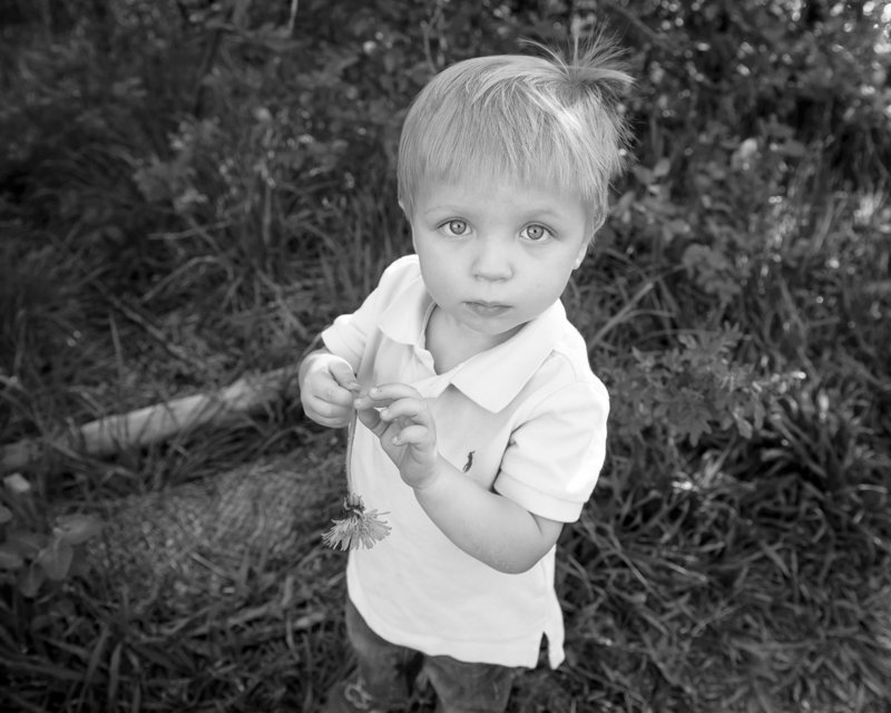 Black and White Photo of Little Boy