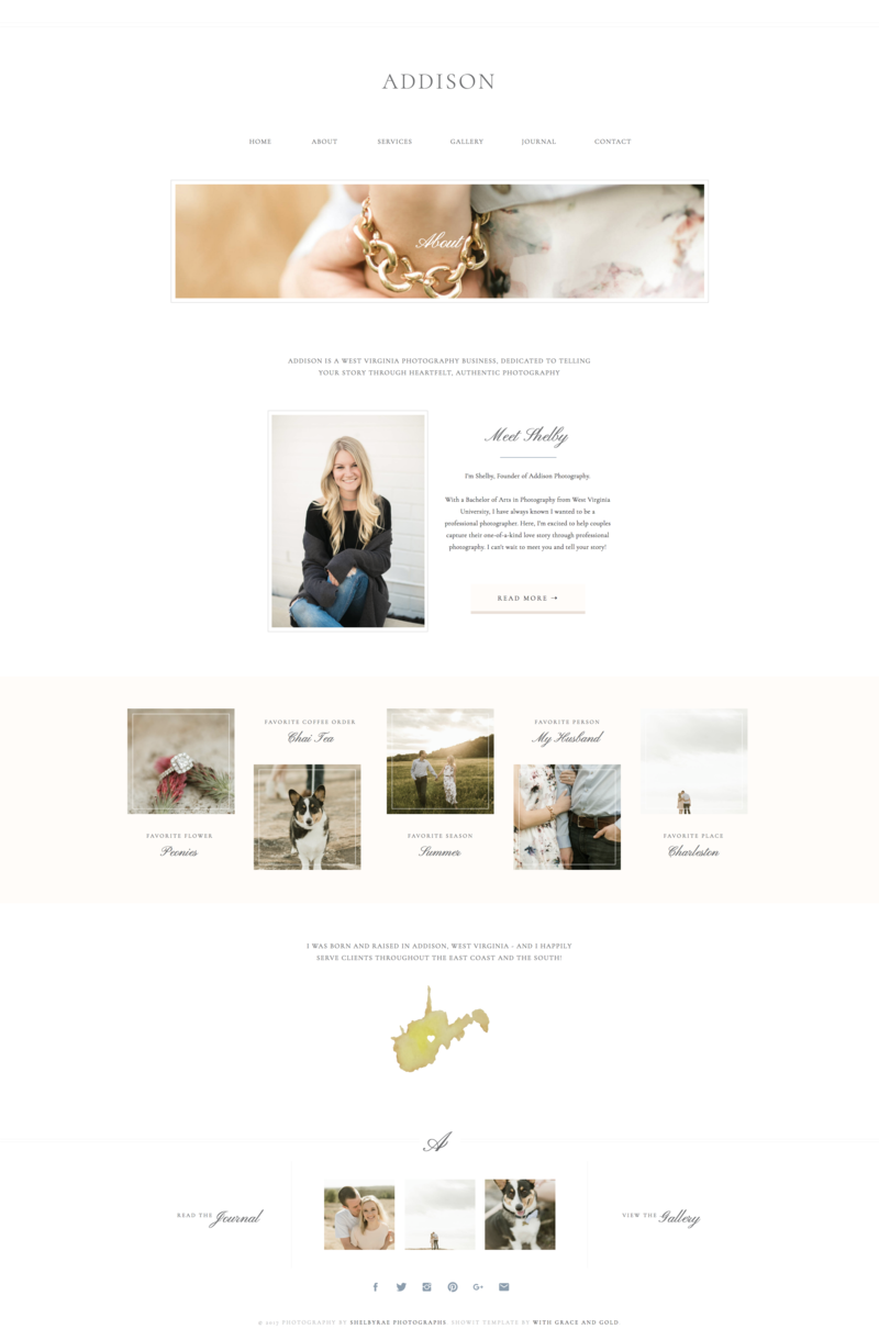 02 - About - Addision - With Grace and Gold - Branding, Web Design, and Education for Creative Women in Business - Showit Design, Designs, Designer, Designers, Theme, Themes, Template, Templates - Photo