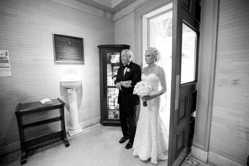 Bride and her father at St. Catharine's