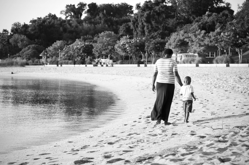 Mother and Son at Yorktown Beach